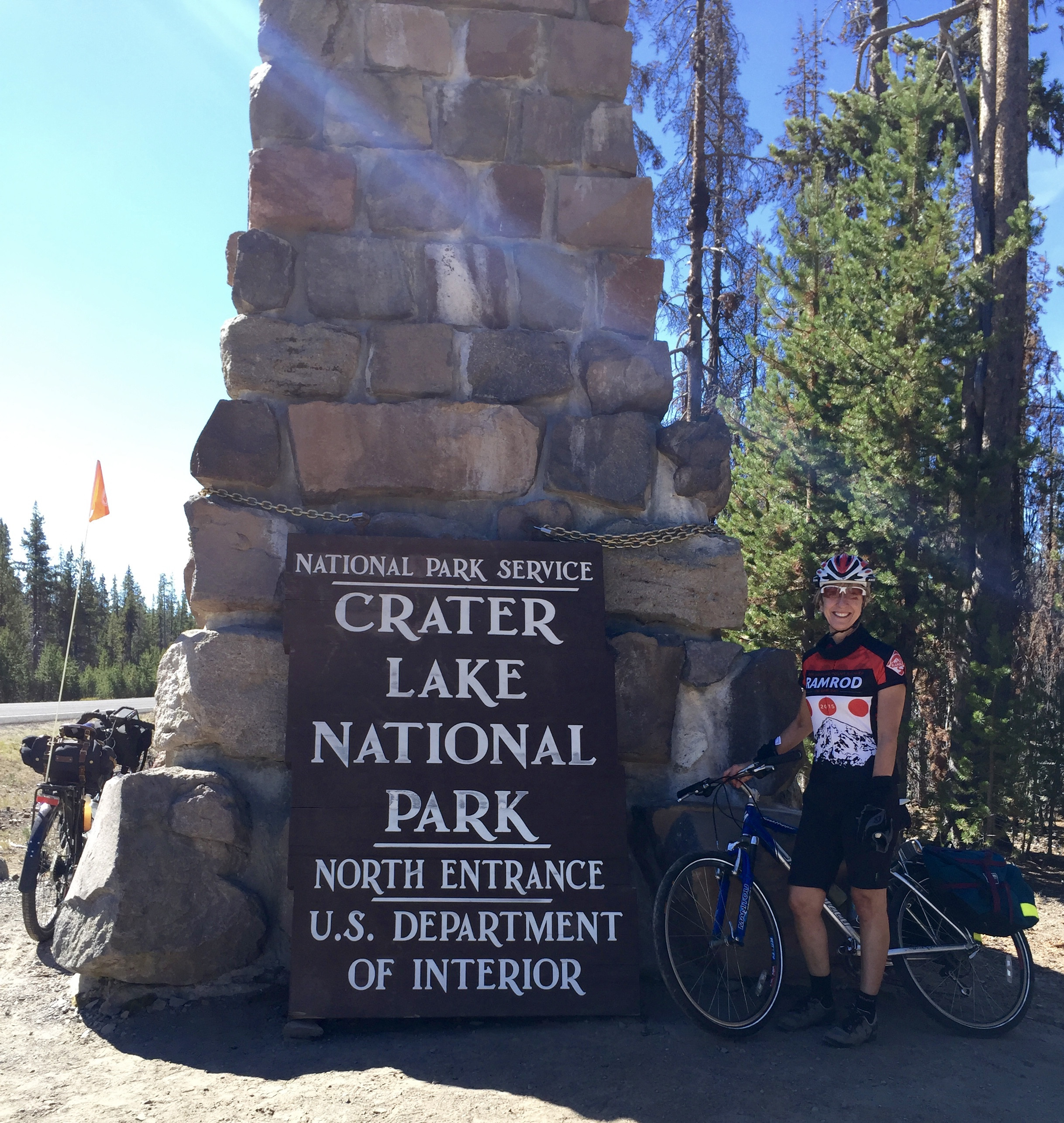 Lorri at the north entrance to Crater Lake