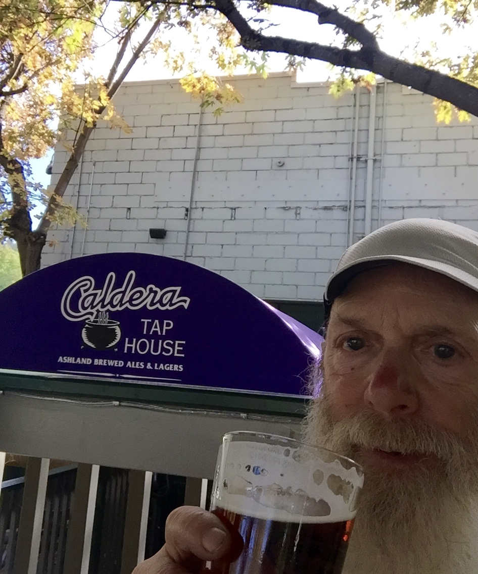 Having a beer at the Caldera Tap House