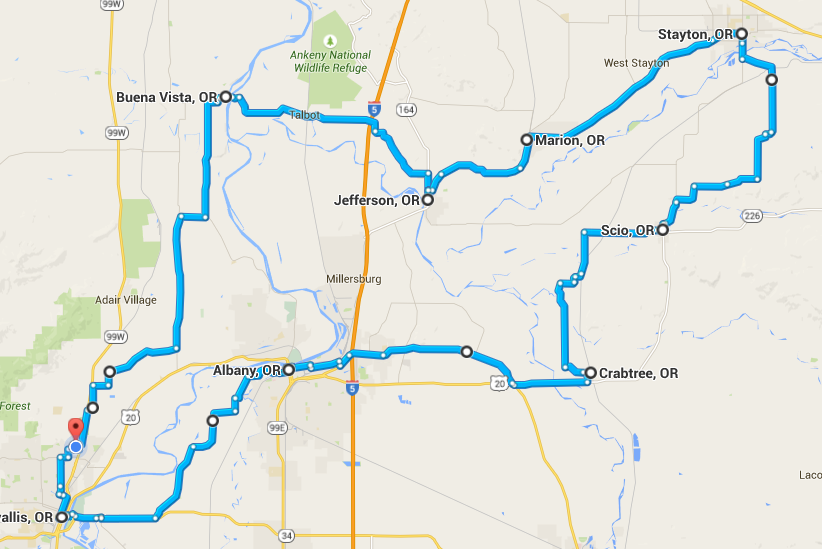 Map of my ride to Stayton