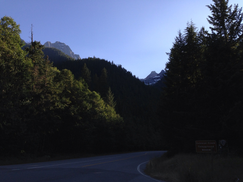Leaving Colonial Creek in the early morning light, and heading into the mountains.