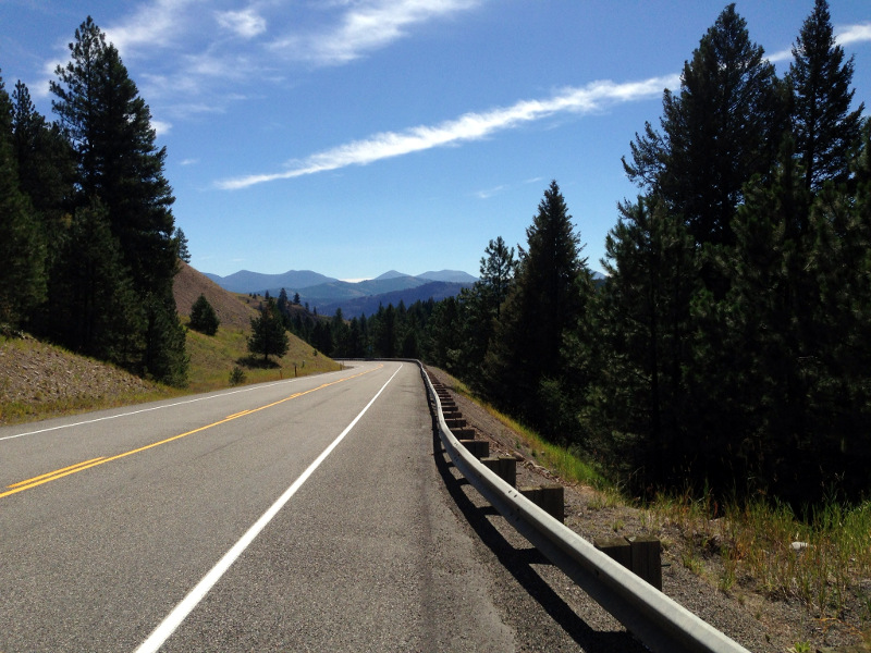 Heading down from Wauconda Pass to Republic. Still a wide open road with a good bike lane and no traffic.