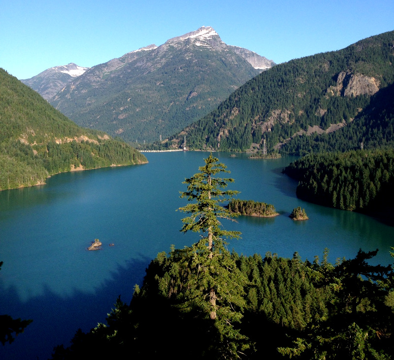 Diablo Lake forms a huge reservoir which powers the electric plant for Seattle.